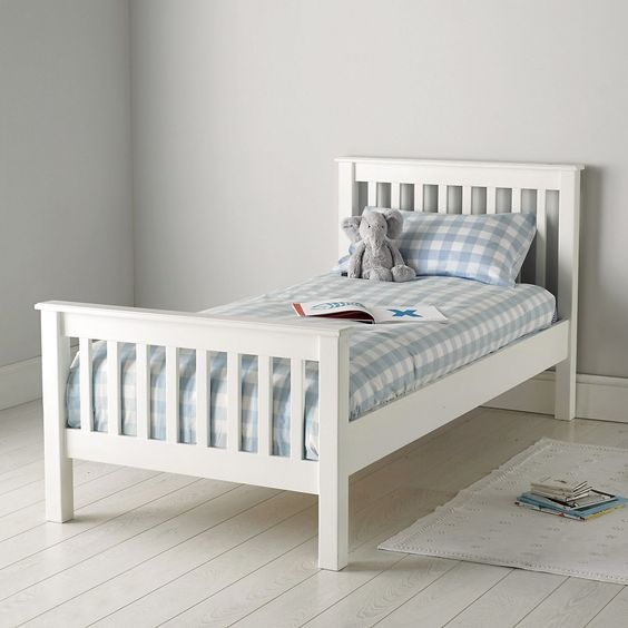 classic single bed the white company white blue and. Black Bedroom Furniture Sets. Home Design Ideas