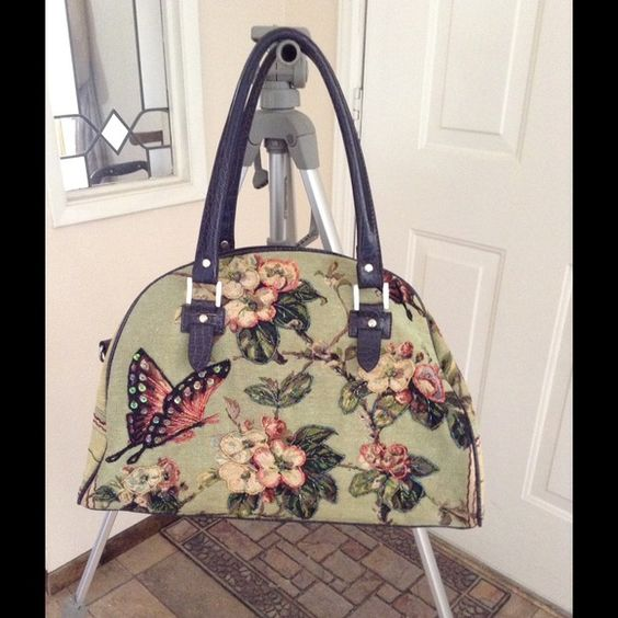 Large Tapestry Bag Large bag with beaded flowers and butterflies. Bags Satchels