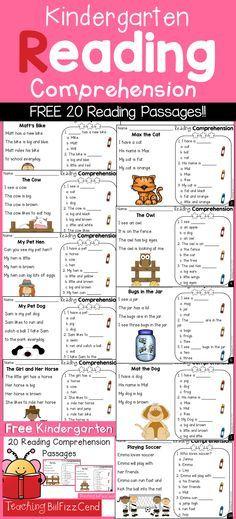 Kindergarten Reading Comprehension Passages Freebies!!