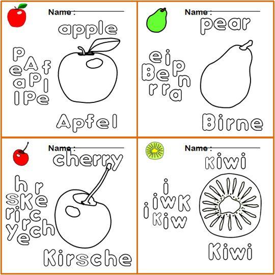 Ausmalbilder für kinder deutsch englisch, Apfel, Birne, Kirsche ...