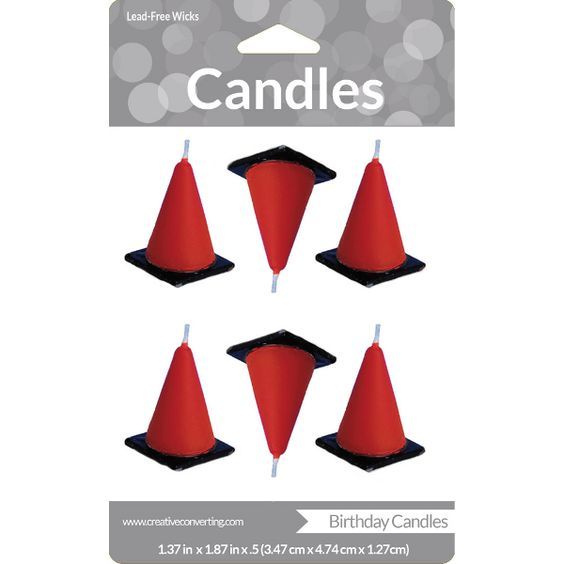 Construction Zone Birthday Cone Candles 6ct