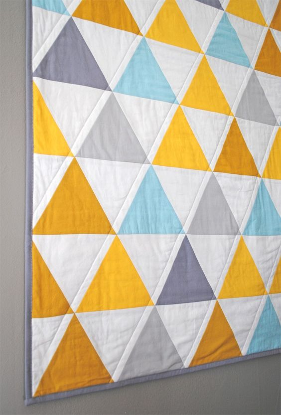 Baby Quilt Patterns With Triangles : Equilateral Triangles Crib Quilt Triangle quilts, Studios and Quilt