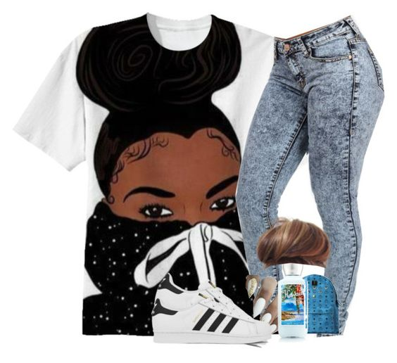 """Walking wit bae"" by shacoraduhh ❤ liked on Polyvore featuring MCM and adidas"