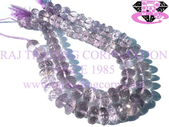 Pink Amethyst Faceted Roundel (Quality A) Shape: Roundel Faceted Length: 18 cm Weight Approx: 18 to 20 Grms. Size Approx: 7.5 to 9 mm Price $17.10 Each Strand