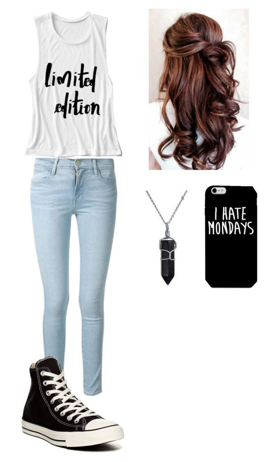"""Outfit #18"" by picklewhoopie ❤ liked on Polyvore featuring Frame Denim, Bling Jewelry, Converse and limitededition"