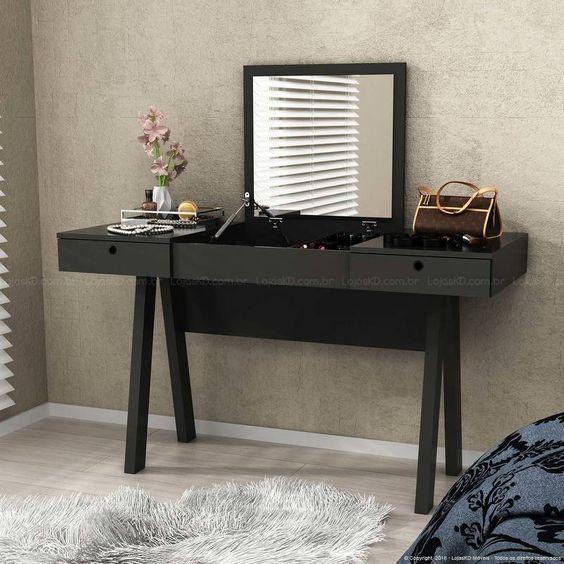 Penteadeiras pretas estão com tudo na decoração do ambiente! Gostou desse modelo? Vem saber mais!