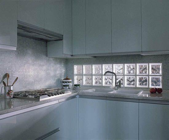 glass blocks glass block windows small kitchens kitchen backsplash