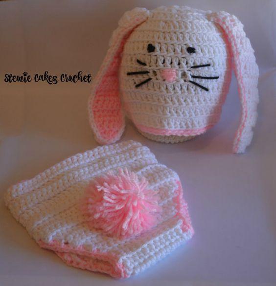 Crochet Bunny Set Easter Bunny Photo Set Bunny Hat by stewiecakes