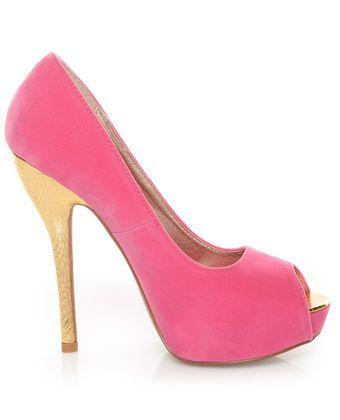 Qupid Heigl 82 Pink Velvet & Gold Peep Toe Pumps