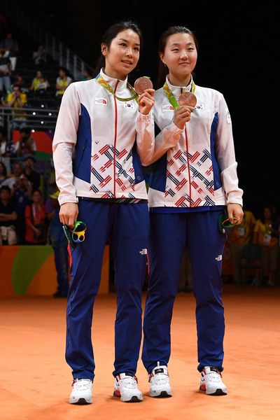Bronze medalists Jung Kyung-eun and Shin Seung-chan of South Korea pose during the medal ceremony for the Women's Doubles Badminton on Day 13 of the Rio 2016 Olympic Games at Riocentro - Pavilion 4 on August 18, 2016 in Rio de Janeiro, Brazil