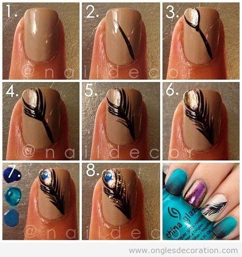 Décoration D'ongles   Nail Art   Dessin sur ongles   Pas à pas