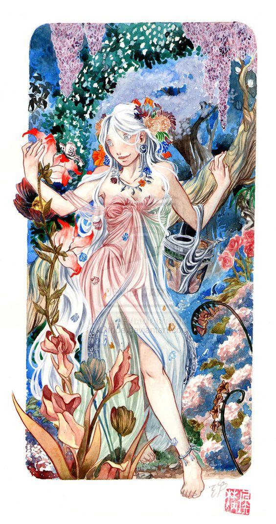 In her garden by Ofride.deviantart.com on @deviantART