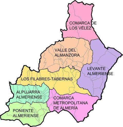 Municipios Y Comarcas De La Provincia De Almería 2008 Almería Gifex Almería Mojacar Provincia