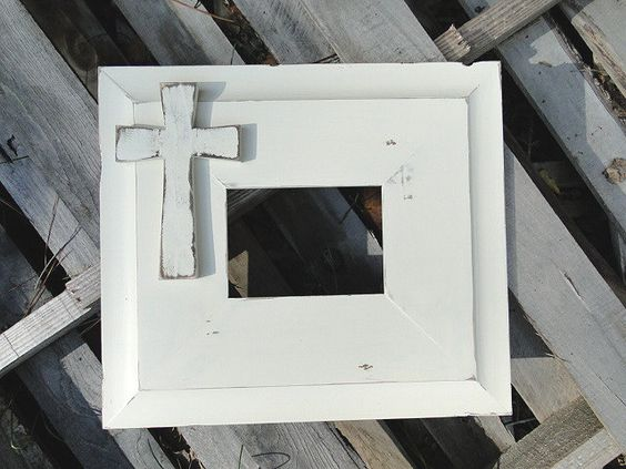 5x7 Vintage Cream Distressed Picture Frame with wood cross. $75.00, via Etsy.