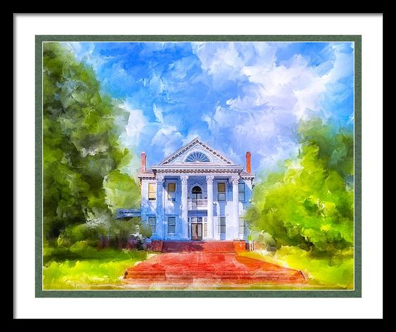 Gracious Living - Classic Southern Home Framed Print By Mark E Tisdale