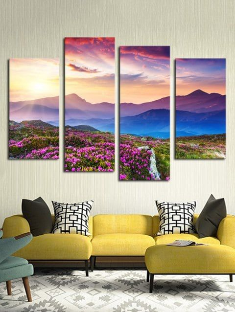 Floral Mountains Print Unframed Split Canvas Paintings Canvas Wall Art Set Cheap Wall Art Cheap Canvas Wall Art