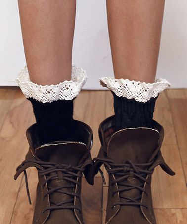 Another great find on #zulily! Black Cable-Knit Lace-Accent Boot Cuffs #zulilyfinds