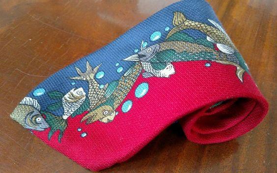 Fish Necktie Perry Ellis Red Blue Tie Fishing 100% Silk Fisherman #PerryEllis #Tie