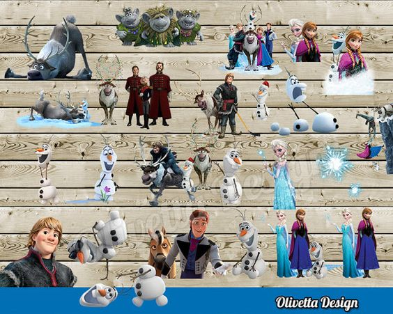 Disney Frozen Clipart Scrapbooking Invitaciones por OlivettaDesign