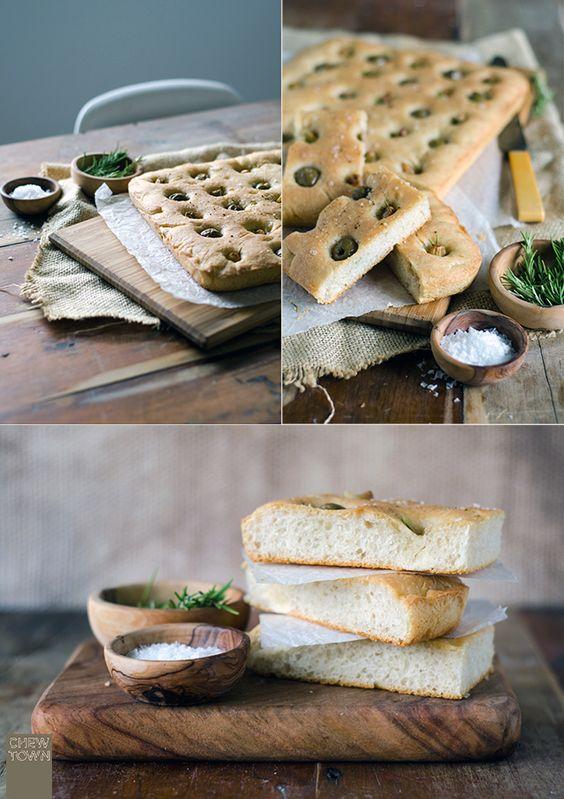 Roast garlic and olive focaccia