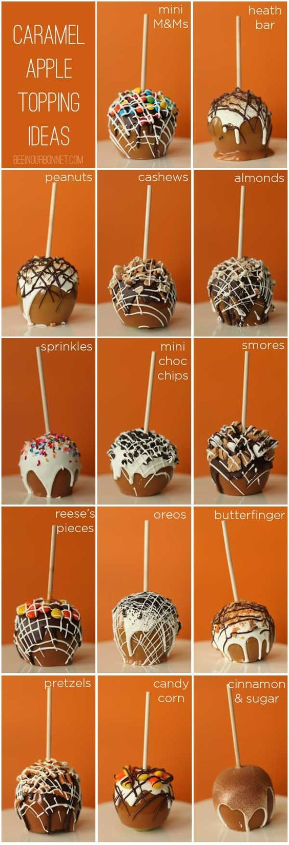 Caramel Apple Topping Ideas -- I would never make these but they make such a pretty picture. :)