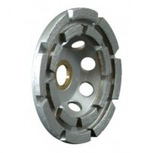 "5"" Standard Single Row Cup Wheel with nut for cutting and grinding concrete and field stones. 5 inch Standard Single Row Cup Wheel are brazed with venting holes for wet or dry use with angle grinders and floor grinding machines."