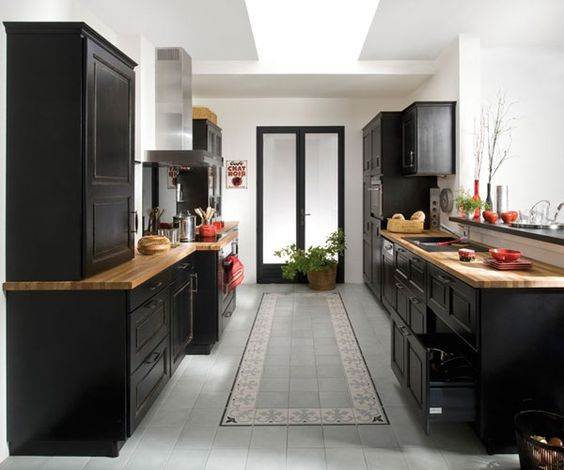 cuisine noir laqué et bois - Recherche Google: