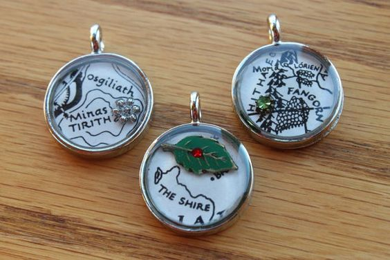 Lord of the Rings LOTR Map Pendant, Necklace with Silver Chain, One Ring, Middle Earth, Geek Jewelry, Geekery, The Shire, Rivendell, Lorien