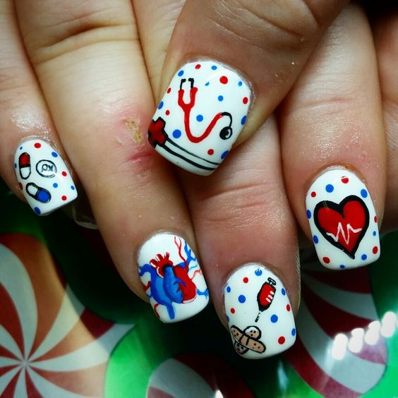 Nurse nails, hand painted by kryssy kaltenthaler
