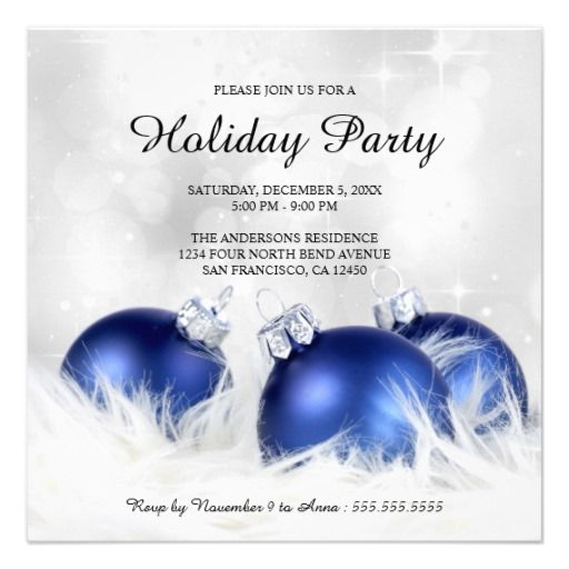 An elegant holiday party invitation template with blue Christmas – Elegant Holiday Party Invitations