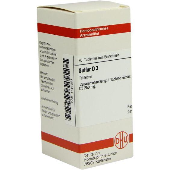 SULFUR D 3 Tabletten:   Packungsinhalt: 80 St Tabletten PZN: 01787203 Hersteller: DHU-Arzneimittel GmbH & Co. KG Preis: 5,64 EUR inkl. 19…
