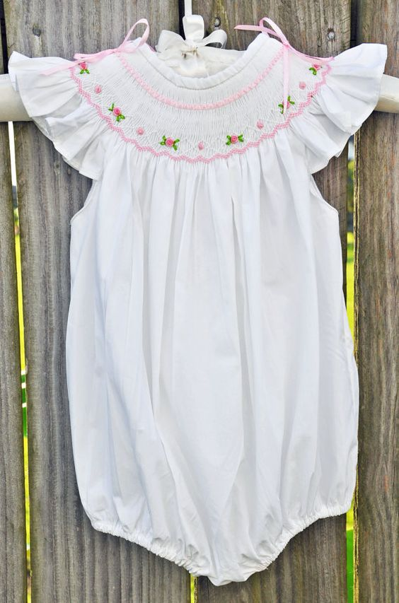 Smocked Romper with Angel Sleeves with Classic by ChezWhimsy