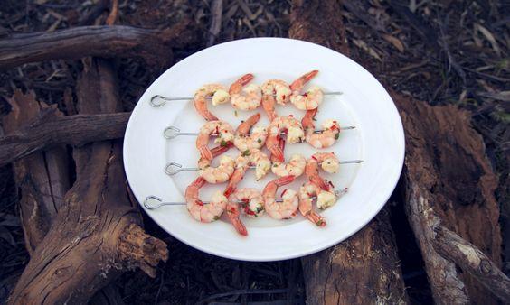 Gluten free camping entree of fresh chilli prawns