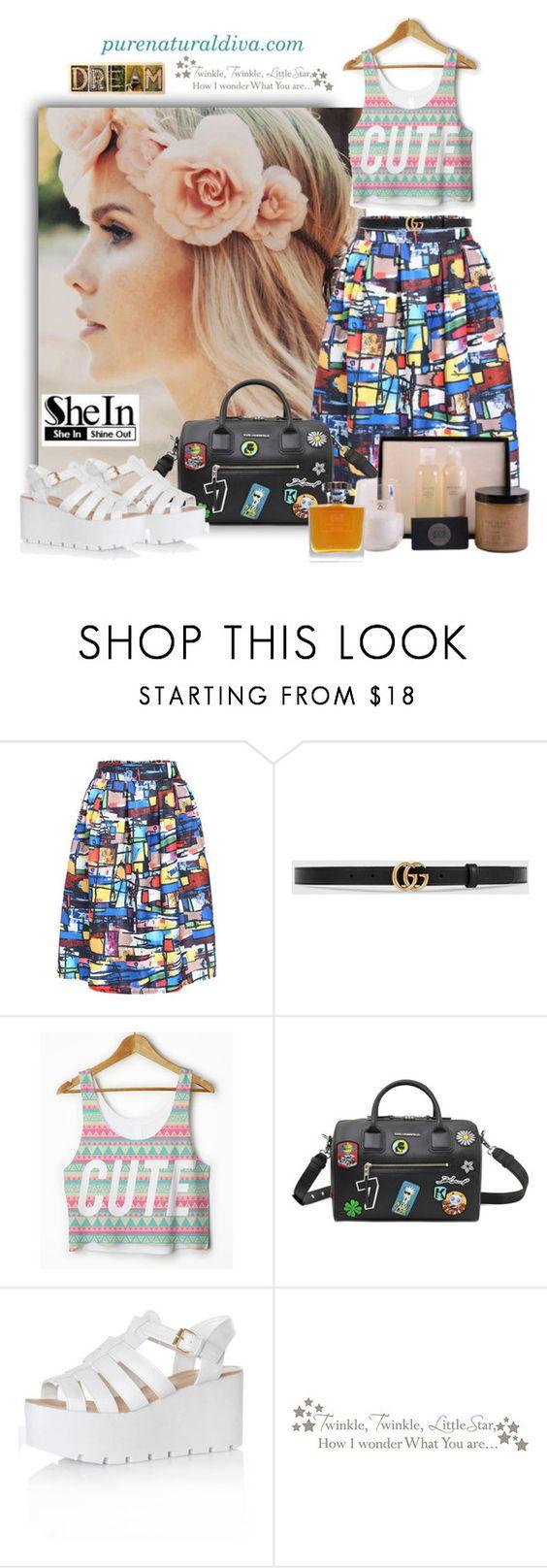 """Multicolor Print Midi Skirt"" by purenaturaldiva ❤ liked on Polyvore featuring Gucci, Karl Lagerfeld, Glamorous, WallPops, naturalbeauty, organicbeauty and purenaturaldiva"