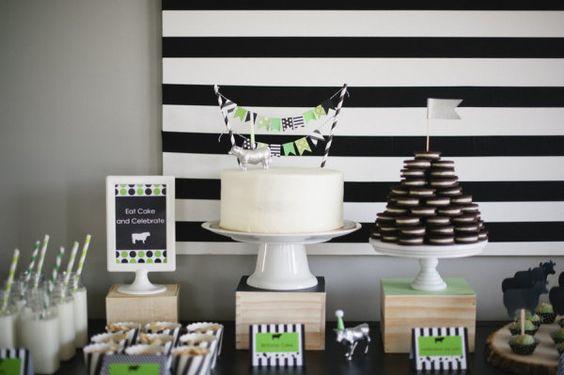 Photography by melissaoholendt.com Event Styling by livethefancylife.com  Read more - http://www.stylemepretty.com/2013/06/03/modern-stripes-dots-cow-birthday-party-from-live-the-fancy-life/