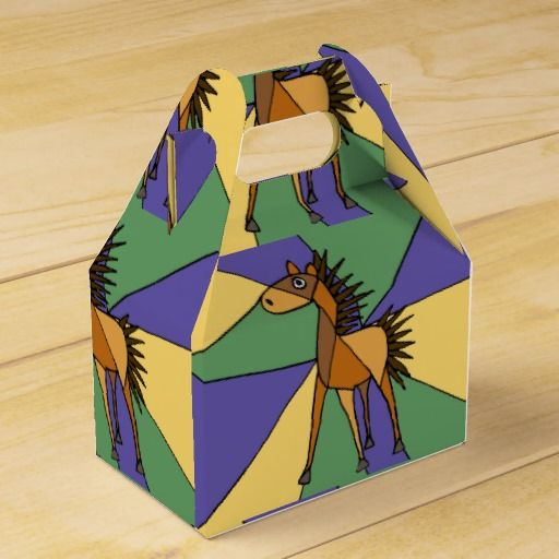 Fun Horse Folk Art Gift Box #horses #art #gift #box And www.zazzle.com/tickleyourfunnybone*