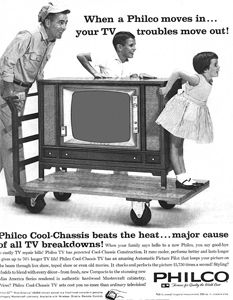 """January 1960 - TELEVISION SETS AT SUPERMARKETS?   A new kind of advertising in television is launched this week as New York independent station WNTA-TV (Channel 13) begins """"Daywatch."""" Broadcast from 9am to 6pm, Daywatch is a mix of background music with scrolled news, weather, time, household and beauty bits. Some 200 television sets have been installed at supermarkets around the metropolitan area, all tuned to channel 13 in the hopes that those waiting on line  . . . ."""