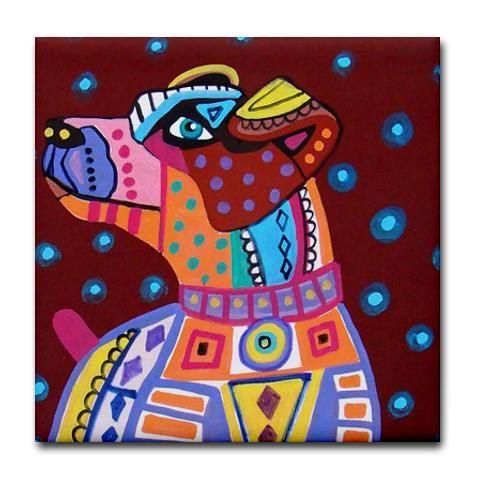 Jack Russell dog tiles  dog coasters  Pop Art by HeatherGallerArt, $20.00