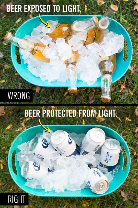 You're drinking beer from bottles instead of cans when you're outside: the sun and artificial light will make your beer smell like skunk, so using a can will protect it.