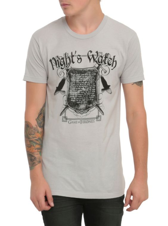 Light grey T-shirt from Game of Thrones with Night's Watch oath design on front.