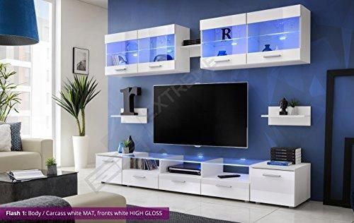Smart Living Room Set 2 Shelves 2 Display Wall Hanged Cabinets Tv Floor Unit With Led Lighted Glass Shelves Flash 1 Www Glassshelves Smart Living Room