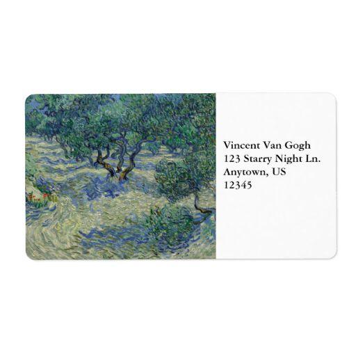 Olive Orchard by Vincent Van Gogh Custom Shipping Label Van Gogh - shipping label