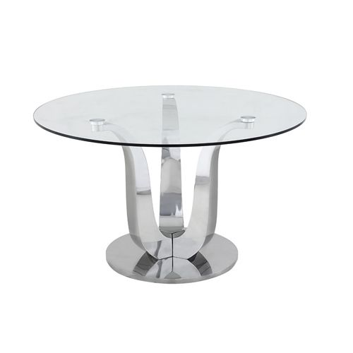Hot Item Modern Plain Glass Top Round Base Dining Table With