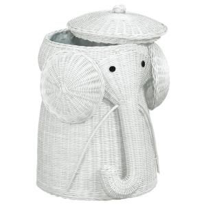 Elephant White Laundry Hamper-4689220410 at The Home Depot