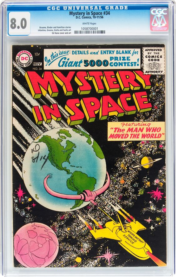 Mystery in Space #34 (DC, 1956)  Cover by Gil Kane.