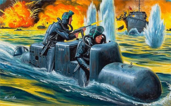 Art port water area man-torpedo SLC Italian frogmen attack ships explosions fire 4 Sizes Home Decoration Canvas Poster Print $11.98