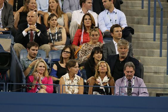 Sally Field and Alec Baldwin take in some of the action on Day 9 in Arthur Ashe Stadium