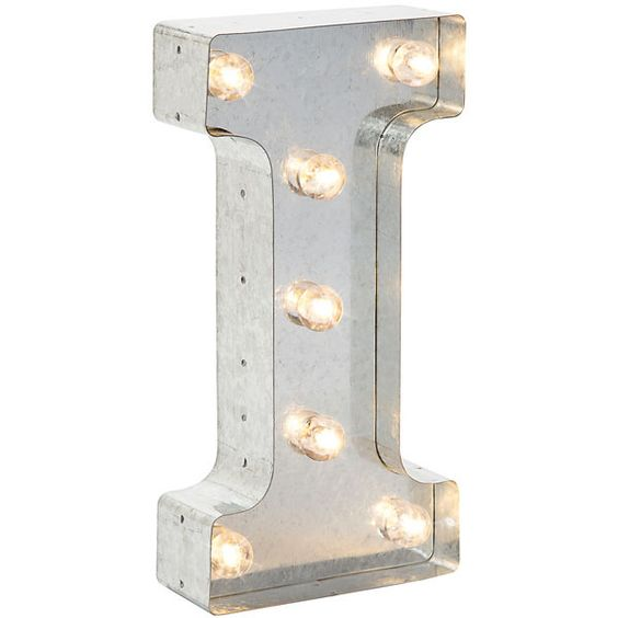 """Silver Metal Marquee Letter 9.875"""" - I"""