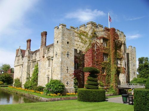 This is Hever Castle in Kent, England.  It was the childhood home of Anne Boleyn, 2nd wife of Henry VIII, but eventually was given to Anne of Cleves, Henry VIII's 4th wife.  In 1903 it was bought by William Waldorf Astor, an American millionaire, who restored it to use as a family residence.  It is now open to the public.