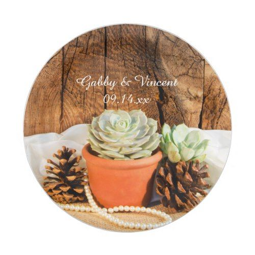 Rustic Succulents and Barn Wood Wedding Paper Plate | Wood Wedding ...